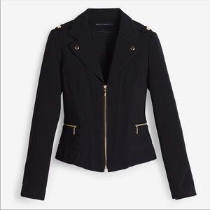 WHBM Black Motto Jacket Crop Size 8